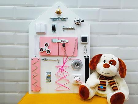 Бизиборд Планшет Домик Большой Розовый 60*40 см
