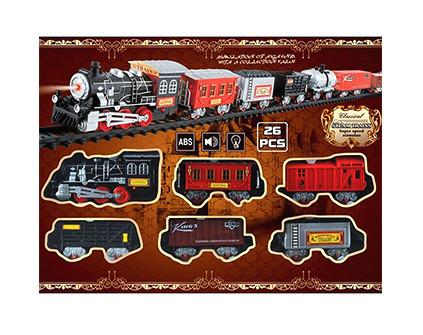Железная дорога со звуком и огнями (26 деталей) TTR-0020-01 - купить недорого в Москве в интернет-магазине
