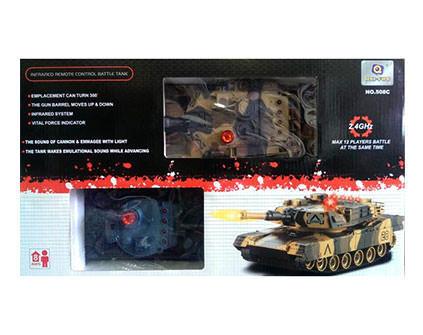 Радиоуправляемый танковый бой Huan QI 508C Tiger vs Leopard масштаб 1:24