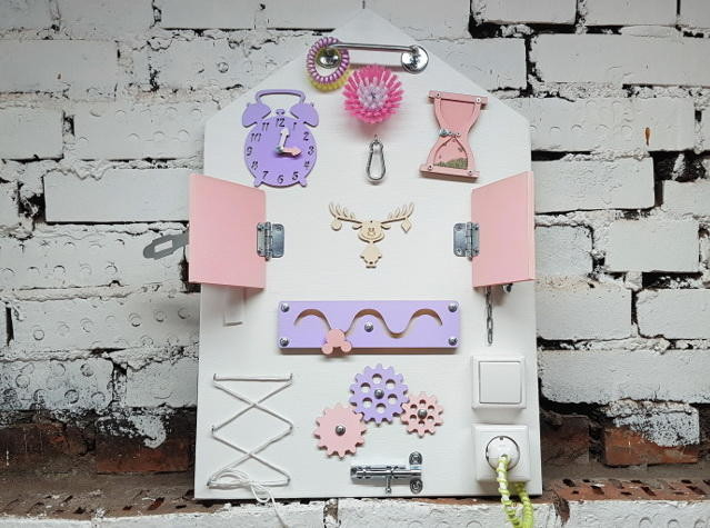 Бизиборд Планшет Домик  Розово-Сиреневый 60*40 см